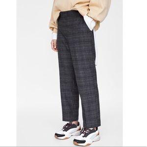 Zara Woman Black & Grey Plaid Trousers Dress Pants